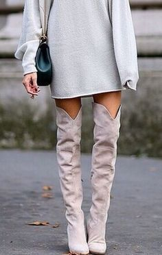 Thigh-high boots and a sweater dress. This is perfect for winter.