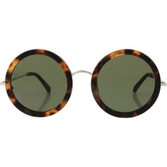 THE ROW Leather Stem Circle Sunglasses ($445) ❤ liked on Polyvore featuring accessories, eyewear, sunglasses, glasses, walnut, brown lens sunglasses, mod sunglasses, the row sunglasses, brown glasses and tortoise shell glasses