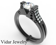 Black Gold White Diamond Handcuff Engagement Ring. by Vidarjewelry, $2950.00
