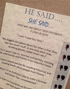 He Said She Said Bridal Shower Game by BLFG on Etsy, $25.00
