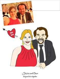 Custom illustrated wedding gift for this lovely couple! Also includes set of 40 greeting cards.