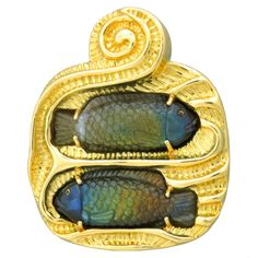 Elizabeth Gage Carved Labradorite Gold Brooch Pin | From a unique collection of vintage brooches at http://www.1stdibs.com/jewelry/brooches/brooches/