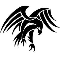 Black tribal eagle vector tattoo