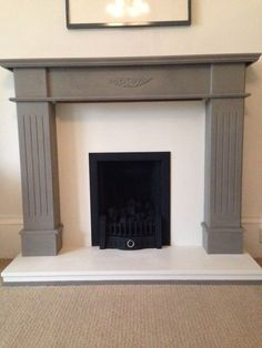 Annie Sloan French Linen & Original fireplace up cycle. - painting a fire surround Painted Fireplace Mantels, Marble Fireplace Surround, Grey Fireplace, Fireplace Update, Paint Fireplace, Fireplace Hearth, Home Fireplace, Fireplace Remodel, Fireplace Surrounds