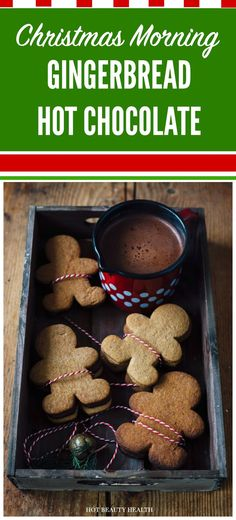 This gingerbread #hotchocolate holiday recipe is sweet and so easy to make. It's the perfect drink to sip on #Christmas morning. Hot Beauty Health blog