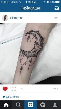Moon tattoo. Bohemian moon