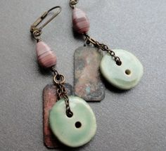 Mauve Sage Button Earrings - Ceramic Buttons. $26.00, via Etsy.