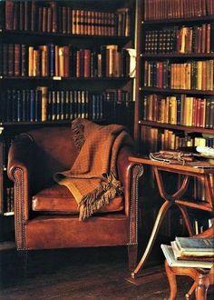carolina blue moon — gouts-d-un-buveur-de-the: Le goût de la lecture… Home Library Rooms, Home Library Design, Home Libraries, Design Desk, Beautiful Library, Dream Library, Cozy Library, Rock Poster, Old Cottage