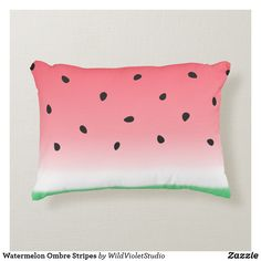 Juicy, watermelon fruit design on bedding, bath decor and other home accessories with soft, ombre colors. Cute for spring and summer decorating. Fun for watermelon lovers and foodies! Watermelon Decor, Watermelon Fruit, Accent Pillows, Bed Pillows, Cushions, Unusual Things, Ombre Color, Bath Decor, Green Stripes