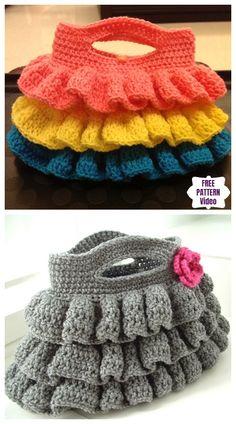 Crochet Bella Ruffled Bag Free Crochet Pattern - Video - See Pic Crochet Ruffle, Crochet Tote, Crochet Handbags, Crochet Purses, Crochet Baby, Free Crochet, Easy Crochet Projects, Crochet Crafts, Crochet Purse Patterns