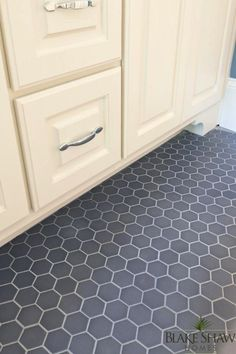 Blake Shaw Homes - bathrooms - hex floor tile, hex tile, gray hex tile, gray hex floor tile, gray hexagonal floor tile, gray hexagonal tile,...