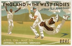 Vintage Cricket Poster Pastiche 2015 Winter Test Series