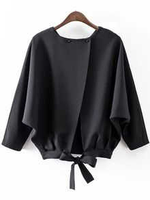 Online shopping for Black Batwing Sleeve Bow Split Blouse from a great selection of women's fashion clothing & more at MakeMeChic. Fashion Details, Look Fashion, Hijab Fashion, Fashion Dresses, Womens Fashion, Fashion Trends, Fashion Styles, Latest Fashion, Blouse Styles