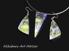 Fluid Painting Jewelry Resin Necklace Earrings Set