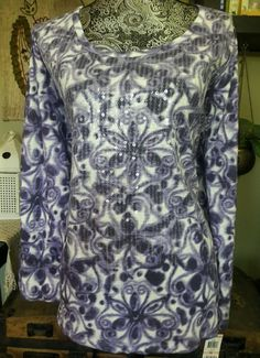 NEW STYLE&CO PLUS SZ 2X BOHO TOP WHIMSICAL IKAT FLORAL PRINT SEQUIN LONG SLEEVES #Styleco #KnitTop #Casual