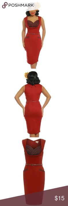 """Lindy Bop VanessaRay Burgundy Pinup Pencil Dress Curve hugging Lindy Bop """"Vanessa Ray"""" style Pinup pencil dress size large - worn once! Washed once and steamed. Excellent used condition. ***Belt NOT included***  Made from a high quality, stretch cotton material  Classic 1950's style wiggle dress Sleeveless design Contrasting ruched crossover bust panel Concealed zip to the rear Material Composition: Shell 97% Cotton 3% Elastane, Lining 90% Polyester 10% Elastane Garment Care: Machine…"""