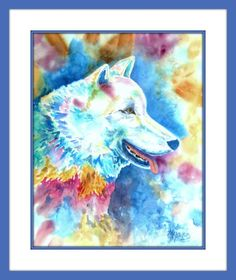 Colorful Painting White Wolf by Watercolor Artist Martha Kisling Watercolor Paper, Watercolor Paintings, Sleeve Packaging, White Wolf, Lone Wolf, Colorful Paintings, Painting Frames, Blue Gold, Watercolors