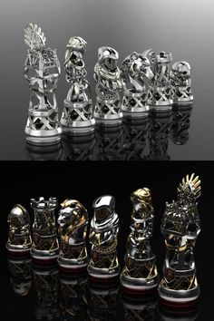 https://www.pinterest.com/electricone77/chess-chess-sets-chess-tactics-chess-openings/ Variations of metal chess pieces from a custom made chess set