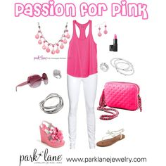 Passion for Pink, created by parklanejewelry on Polyvore  Park Lane Jewelry featured: Pink Champagne necklace  earrings, Destiny ring, Volume bracelet, Bliss ring  bracelet  @park-lane-fashion-combos