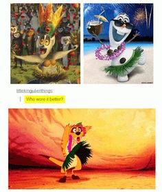 Just click through and read them all. This one is funny b/c King Julian is DreamWorks. When they made the shocking discovery that Disney was clearly just reusing old costumes to save money. <>< my nephew says Julian & I say Timon Disney Gifs, Disney Pixar, Walt Disney, Disney Memes, Disney And Dreamworks, Disney Love, Disney Magic, Funny Disney, Disney Stuff