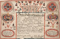 Birth and Baptismal Certificate (Geburts und Taufschein) for Maria Frey - Fraktur