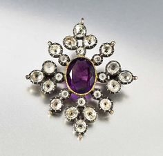 Antique Georgian Amethyst Brooch Pendant Black Dot by boylerpf