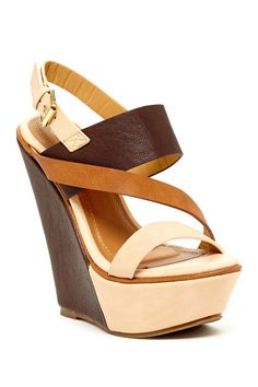 Two-Tone Wedge Sandal