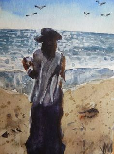 Lady at the Beach ACEO collectible Card Original artwork Watercolor Painting   #Realism