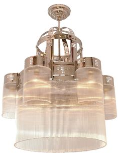 Imposanter Art déco-Leuchter mit Kristallglas-Stäbchen * Art-Déco-Chandelier Ø 120 cm with crystal glass sticks