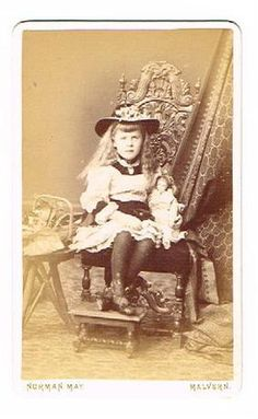 Old CDV Photograph Girl Doll Malvern Worcs Childrens Fashion May Studio 1882 | eBay