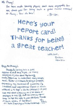 teacher's day cards – The 2013 report card, Thanks for being a great teacher with lot of love and affection from deep heart.