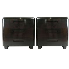 Pair of Ebonized 1940's Modern Chests by Paul Goldman | From a unique collection of antique and modern commodes and chests of drawers at http://www.1stdibs.com/furniture/storage-case-pieces/commodes-chests-of-drawers/
