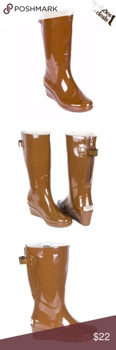 """Women Chocolate Rubber Rain Boots RB-1810 Enjoy Rainy Weather in Stylish Ladies' Rain Boots! 100% Rubber, Full Cotton Lining and a Wedge. Whatever you Call Them- Wellies, Galoshes, Rain Boots, or Sluggers, Your Feet Are Sure to Stay Dry While Exploring Puddles or Gardening. Run Half a Size Large to Accommodate a Thick Sock. Not Made for Wide Calf. Calf circumf. approx. 15"""" Forever Young Shoes Winter & Rain Boots"""