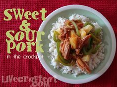 sweet and sour pork recipe in the crock pot. Pork loin, bottle of sweet&sour sauce. Last 1/2 hour add can pineapple tidbits & peppers. Cook 6-8 hours.