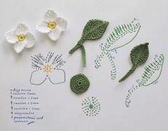 Flores y hojas crochet patron
