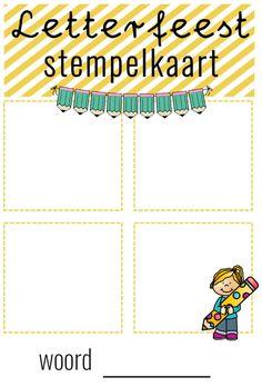 stempelkaart letterfeest Spelling, Map, Teaching, Education, Location Map, Onderwijs, Teaching Manners, Games, Maps