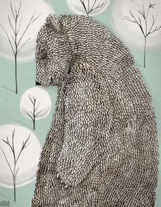 Blustery Spring – Bear Illustration – Black Bunny | Small for Big
