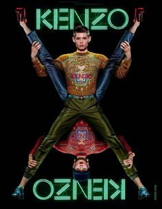 """""""Kenzo F/W 12 Campaign"""" lensed by Jean Paul Goude starring Simon Sabbah and Xiao Wen Ju with Stylist Marie Chaix, Hair Stylist Laurent Philippon and MUA Yadim"""