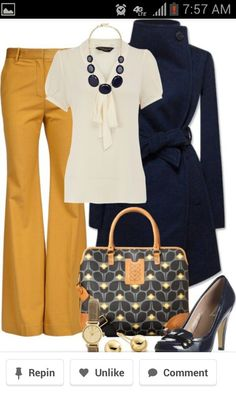 Olivia Pope style - mustard colored boot cut slacks, short sleeve white tassel shirt, navy trench and shoes, navy and white bag with tan accents, gold and navy jewelry