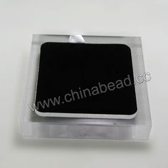 Acrylic cabochon display, Clear white and black color, Rectangle, Approx 105x85x20mm, 10 pieces per bag, Sold by bags