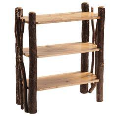 Hickory Open Bookshelf with Twig Accents