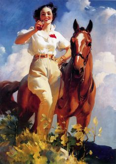 From the Portland museum of American Advertising this is a1937 painting of 'Woman with Horse'