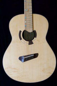 Short multiscale, medium-bodied acoustic in flame redwood and padauk. Guitar Building, Beautiful Guitars, Custom Guitars, Acoustic Guitars, Music Instruments, Medium, Amazing, Ideas, Creativity