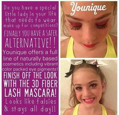 Are you a dance, pageant, or cheer mom? Ditch the glue and falsies and the chemical filled makeup and switch to Younique's 3D Fiber Lash Mascara! Safe and hypoallergenic, stays on all day, but washes off easily!