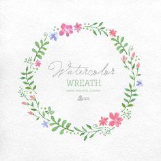 Aquarell-Kranz-Clipart. Handbemalter Rahmen, Hochzeit diy Elemente, Blumen, einladen, Land-Kranz, Blüte, Frühling, Wildblumen