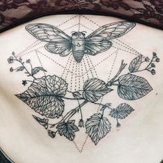 Cicada and leaves sternum tattoo. By Pony Reinhardt at Forbidden Body Art in Portland, OR USA. IG: freeorgy