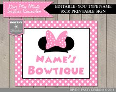 SALE INSTANT DOWNLOAD Editable Light Pink Minnie Inspired Bowtique Sign / Type Name / Printable / Light Pink Minnie Collection / Item #619 by DivinePartyDesign on Etsy