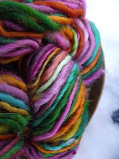 Handspun yarn, handpainted Merino Wool yarn, bulky thick and thin, soft, multiple skeins available-FAERIE TALE