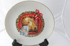 Vintage Collectible Jasco Christmas Plate W/ Little Boy Waiting For Santa  #Jasco