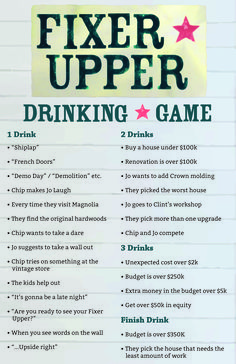 I made a Fixer Upper Drinking Game! I hope you guys like it! I worked hard on designing the #Shiplap background. #FixerUpper #Drinking #Game #HGTV